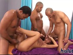 Interracial gangbang action with a slender filly