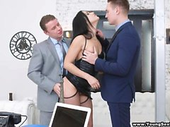 Young Sex Parties - Nubile DPed by two businessmen