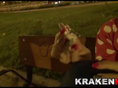 Outdoor video with a funny provocative teen