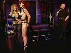 Fetish threesome redhead torture session