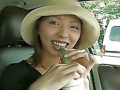 Eccitati pulcino di asiatica masturba il hairy pussy in auto