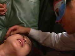 Blindfolded babe gets her belly creamed