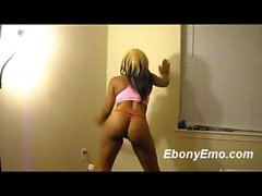 Ebony Emo With Cute Booty Dance In Red Thong