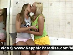 Hot redhead and blonde lesbos kissing and fingering pussy and having lesbo love