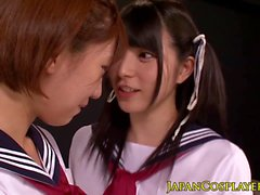 Japanese schoolgirl squirting while fingered