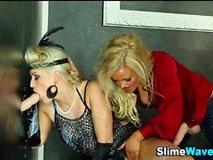 Strapon lesbos bukkaked at gloryhole