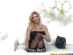 Smoking hot blonde milf rides casting agents stiff big cock