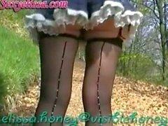 upskirt seamed stockings