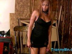 Ebony tranny fucks her slave