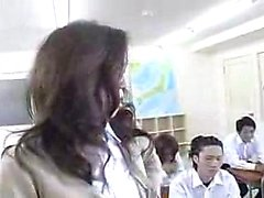 Hot teacher with tiny boobs and sexy legs gets used in the
