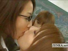 Japanese schoolgirls and MILF teacher lesbian party