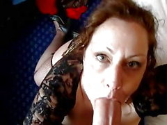 Big tits milf swallows a huge dick