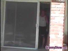 Granny Fucks Sales Guy Outside
