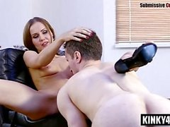 Hairy submissive femdom humiliation and cumshot