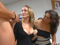 Office sluts take a break with a striptease and blowjobs