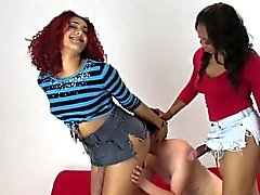 Sweeties shag boyfriends anal with big strapons and burst ju