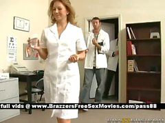 Horny brunette girl at the doctor gets examined