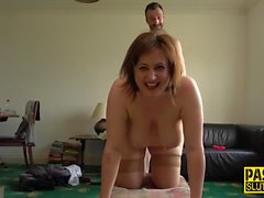 Fat whore gets throated