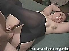 Plump brunette amateur Vikki loves to have her hairy bush stuffed by Quintin