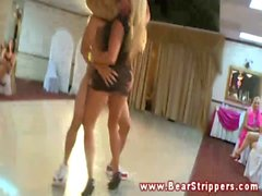 CFNM bride blows and tugs the strippers hard dicks