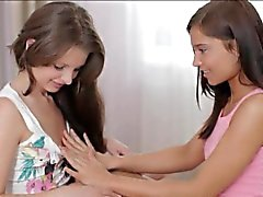 Two glamour teens Liona and Monica rubbing each others clits