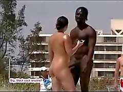 BBC trying to get some pussy nude on beach