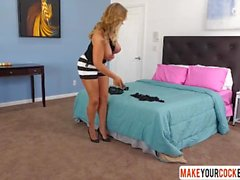 Stepmom In Stockings Eva Notty Gives Handjob In Bed