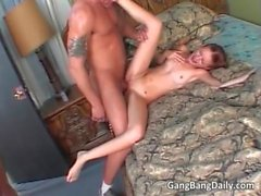 Horny ginger slut blowing cock