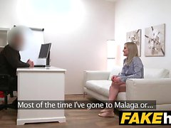 Fake Agent Shy blonde model shaved pussy licked