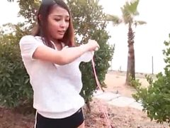 Hot brunette has sport relaxation outdoors