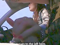 Amateur brunette passenger nailed by horny driver for free