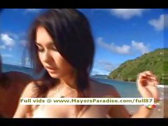 Maria Ozawa innocent pretty Chinese blowjob guys on the beach