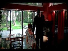 Intruder entertains himself with the lady of the house