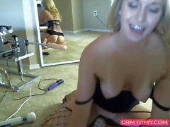 Sexy blonde enjoying toy