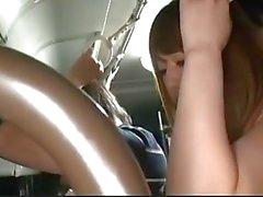 Akiho Yoshizawa gets doggy in full bus