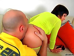 Guy pulls down Julia Bond's green pantyhose and spreads her