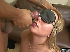 Foxy Blindfolded Golden-Haired Acquires To Ride On Top Of A Darksome Boner