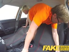 Fake Driving School Students squirting shaven pussy gets spunked on