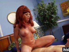 Redhead babe gets a nice hard pecker