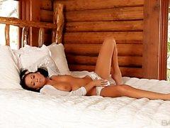 Glamorous brunette Chloe James in bed