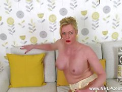 Blonde Milf Holly Kiss flashing wanking in sheer nylons retro suspenders