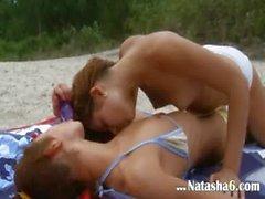 Lesbian babes tease each other