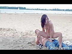 Couple fucking on a public beach