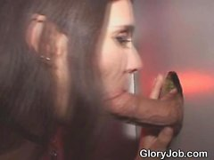 Brunette Smokes On Skin Flute Through A Glory Hole