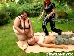 BBW Sandwich with 2 BBW mistresses and their submissive male