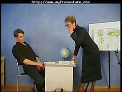 Russian Granny Teacher And Her Student