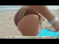 Sasha adorable teen girlfriend with big ass and natural tits having fun on the beach