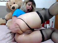 Anne Het bystig blondin onanerar och anal toying