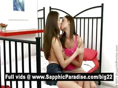 Ashlie and Dulce brunette lesbians kissing and having lesbian sex