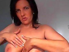 German slut giving tits job with cumshot